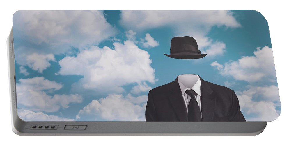 Rene Magritte Portable Battery Charger featuring the photograph A Riff On Magrittes The Pilgrim by Scott Norris