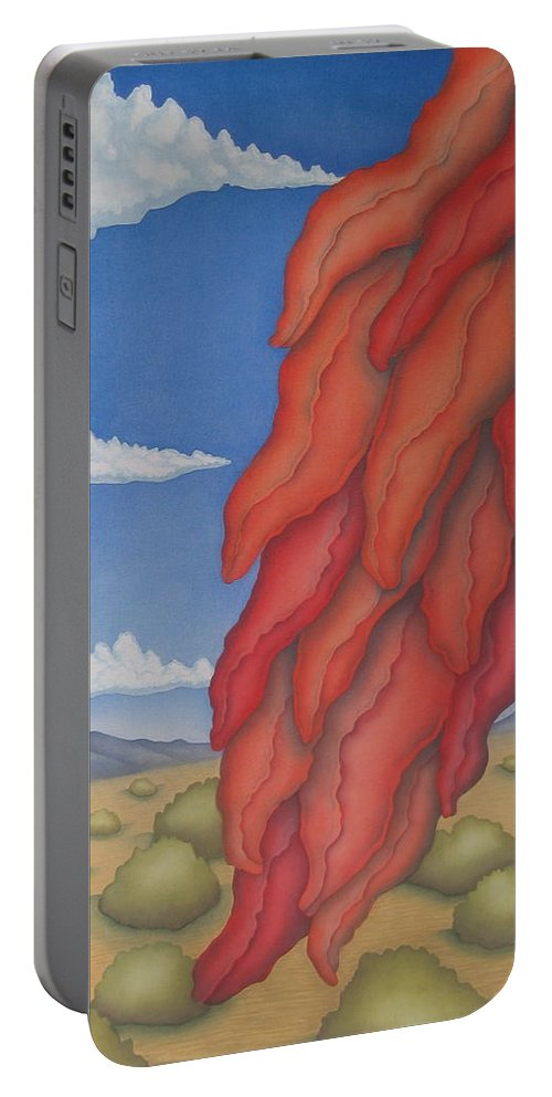 Southwest Portable Battery Charger featuring the painting A Ristra On A Breeze by Jeniffer Stapher-Thomas