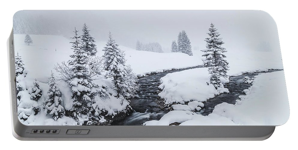 Horizontal Portable Battery Charger featuring the photograph A River And Winter Landscape In Austria by Travel and Destinations - By Mike Clegg