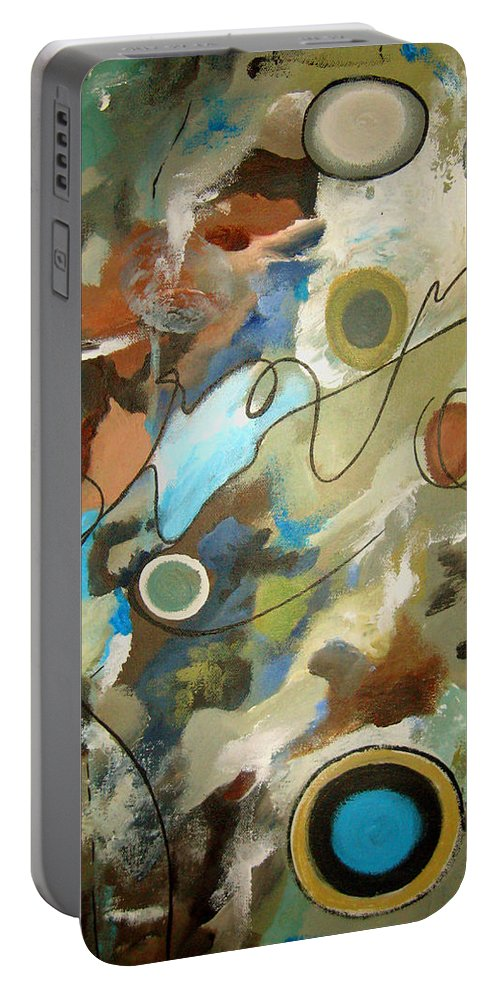 Abstract Portable Battery Charger featuring the painting A Rolling Stone Gathers No Moss by Ruth Palmer