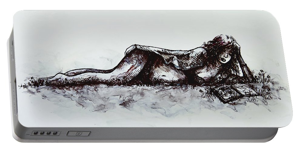 Romance Portable Battery Charger featuring the painting A Romance by Rachel Christine Nowicki