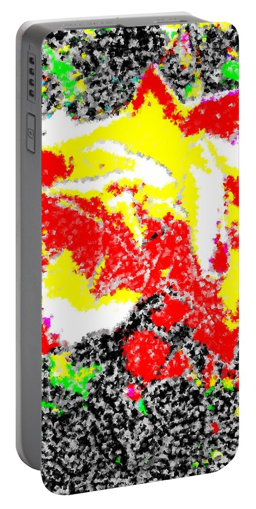 Rose Portable Battery Charger featuring the digital art A Rose Is 2 by Tim Allen