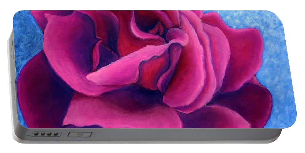 Rose. Pink Rose Portable Battery Charger featuring the painting A Rose Is A Rose.. by Minaz Jantz