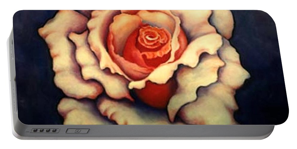 Flower Portable Battery Charger featuring the painting A Rose by Jordana Sands