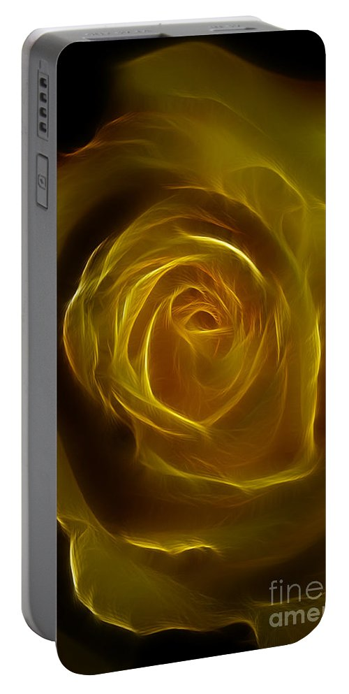 Yellow Portable Battery Charger featuring the photograph A Rose Of Yellow by Deborah Benoit