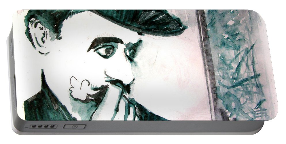 A Sad Portrait Of Chaplin Portable Battery Charger featuring the drawing A Sad Portrait of Chaplin by Seth Weaver