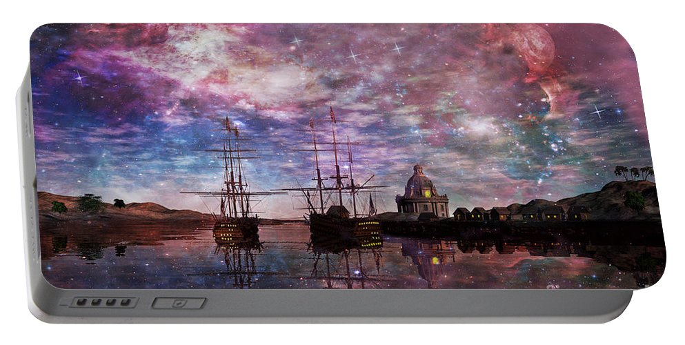Anchor Portable Battery Charger featuring the digital art A Safe Anchorage by John Edwards