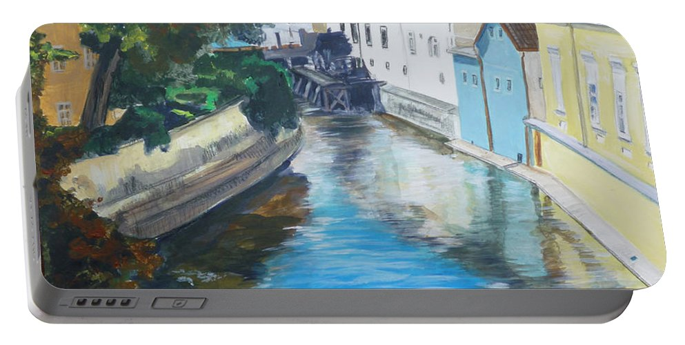 Prague Portable Battery Charger featuring the painting A Scene In Prague 2 by Bryan Bustard
