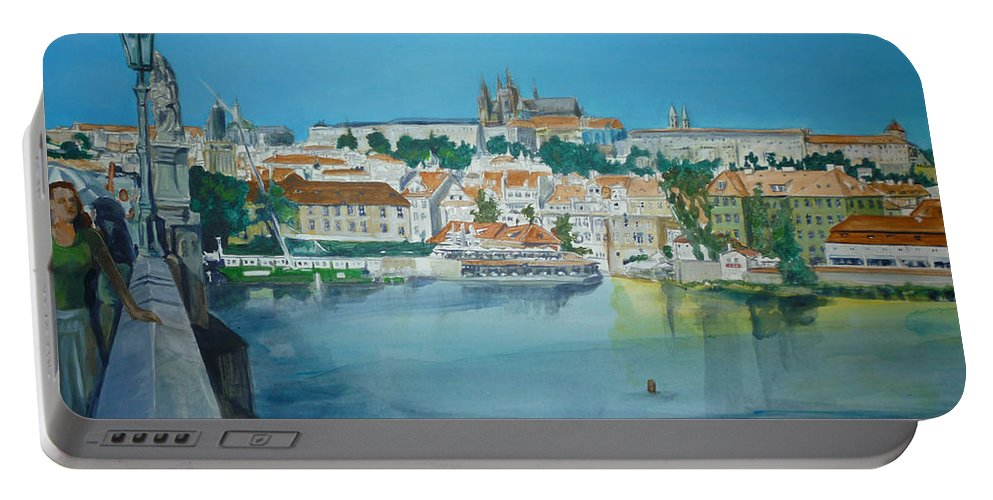Prague Portable Battery Charger featuring the painting A Scene In Prague 3 by Bryan Bustard