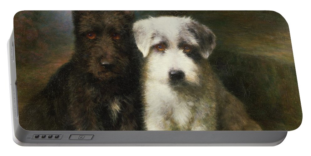 Dogs Portable Battery Charger featuring the painting A Scottish And A Sealyham Terrier by Lilian Cheviot