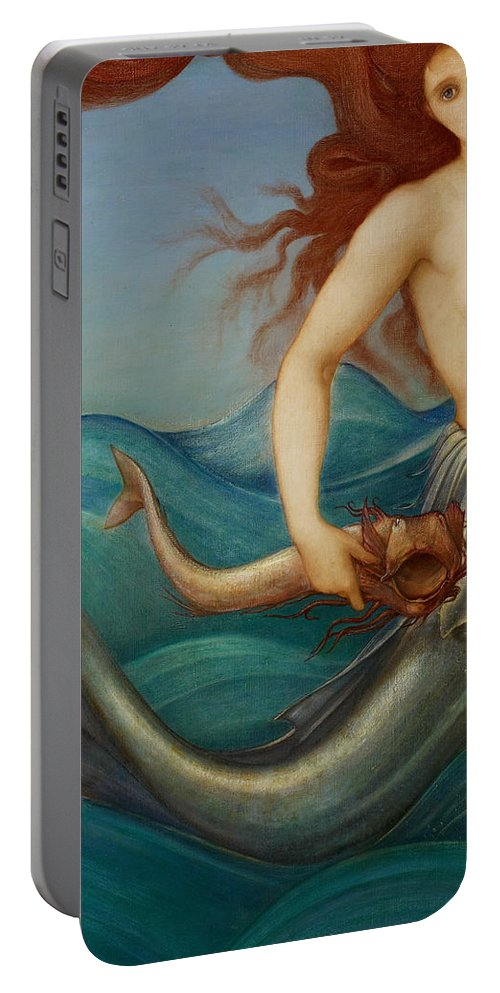 Mermaid Portable Battery Charger featuring the painting A Sea Nymph by Sir Edward Burne-Jones