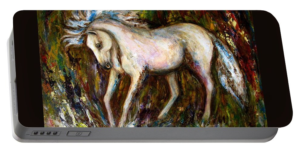 Horse Painting Portable Battery Charger featuring the painting A Secret Place White Hores Painting by Frances Gillotti