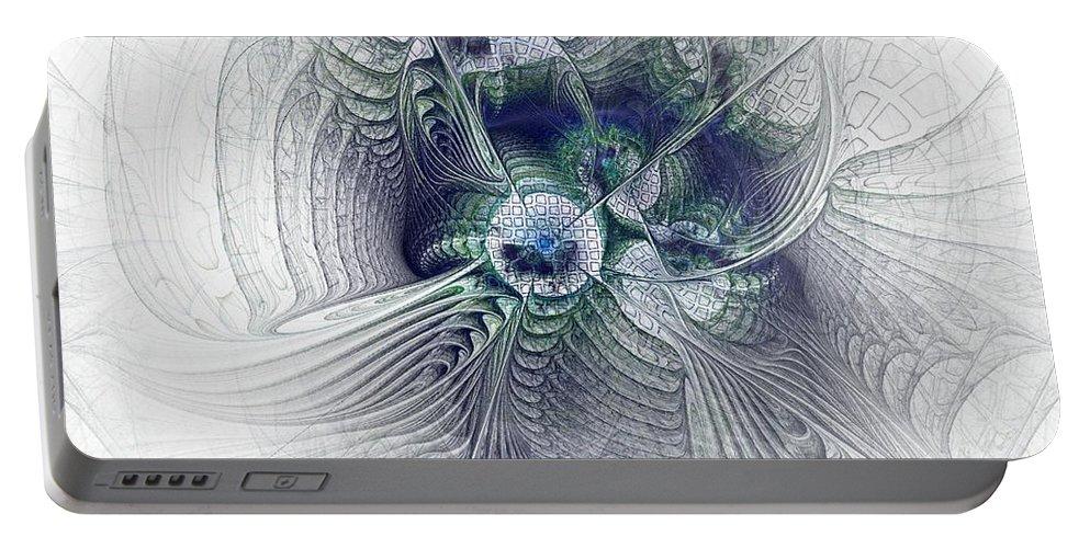 Spiritual Portable Battery Charger featuring the digital art A Secret Sky - Fractal Art by NirvanaBlues