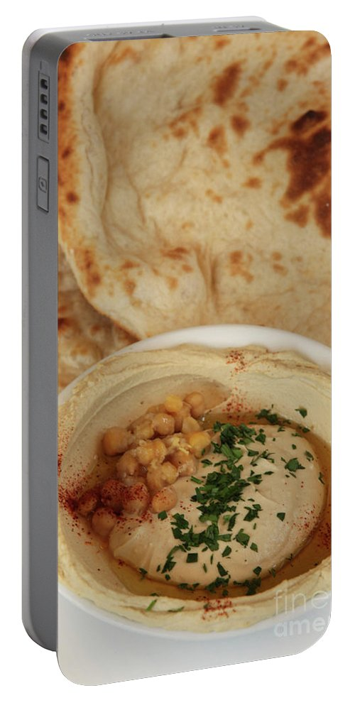 Humus Portable Battery Charger featuring the photograph A Serving Of Humus by PhotoStock-Israel