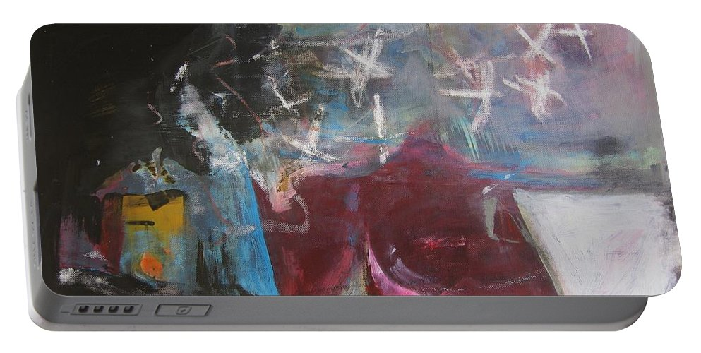 Abstract Paintings Portable Battery Charger featuring the painting A Short Story by Seon-Jeong Kim