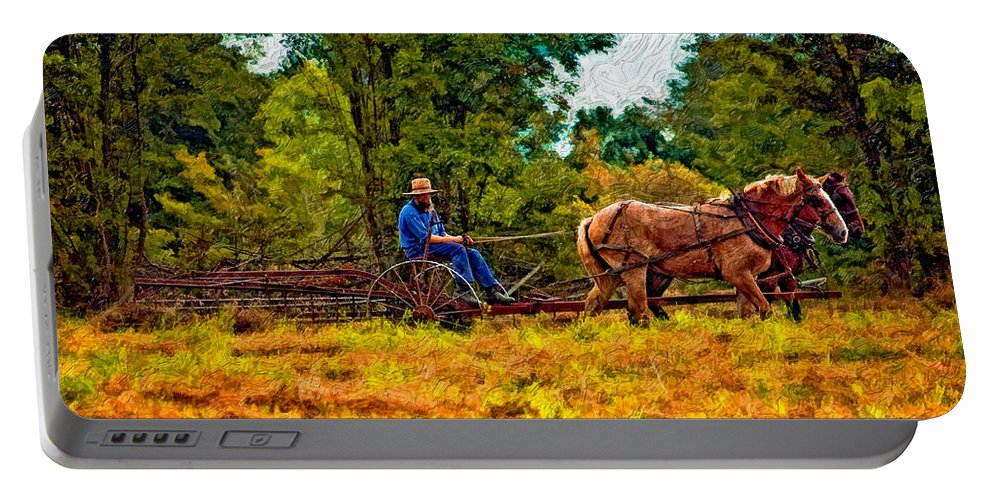Farm Portable Battery Charger featuring the photograph A Simpler Time Impasto by Steve Harrington