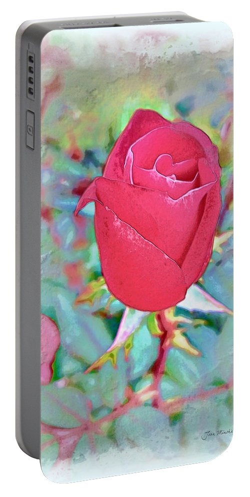 Rose Portable Battery Charger featuring the photograph A Single Rose In October by Joan Minchak