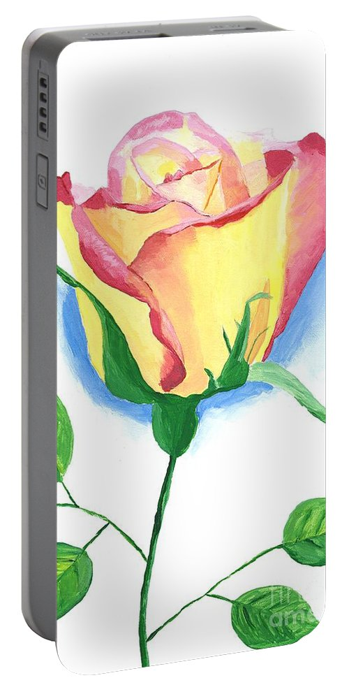 Rose Portable Battery Charger featuring the painting A Single Rose by Rodney Campbell