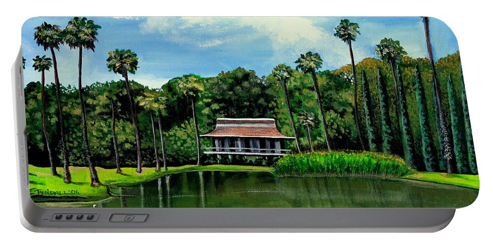 Landscape Portable Battery Charger featuring the painting A Slice Of Paradise by Elizabeth Robinette Tyndall