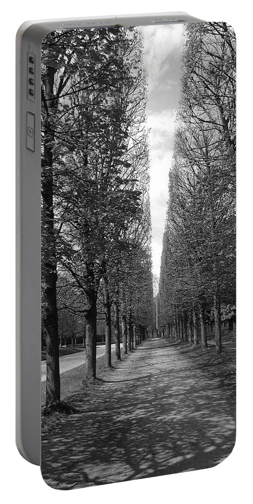Trees Portable Battery Charger featuring the photograph A Slice Of The Sky by Tom Reynen