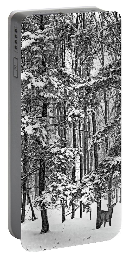 Deer Portable Battery Charger featuring the photograph A Snowy Day Bw by Steve Harrington