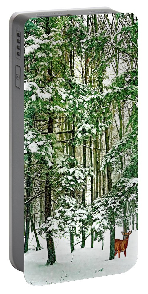 Deer Portable Battery Charger featuring the photograph A Snowy Day by Steve Harrington