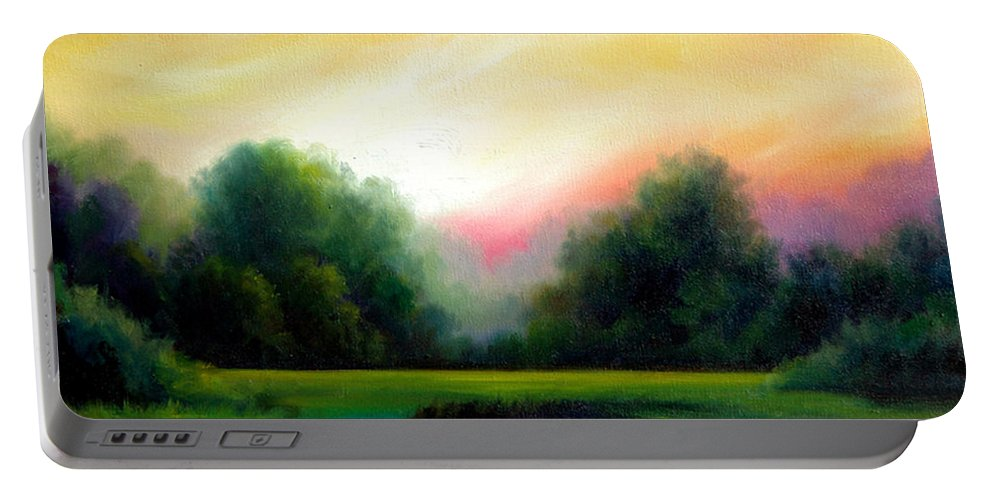 Clouds Portable Battery Charger featuring the painting A Spring Evening by James Christopher Hill