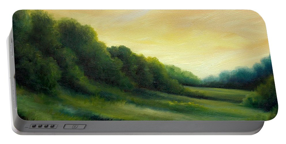 Clouds Portable Battery Charger featuring the painting A Spring Evening Part Two by James Christopher Hill