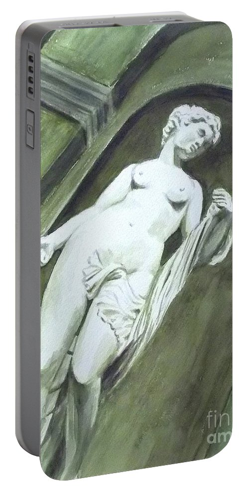 Statue Portable Battery Charger featuring the painting A Statue At The Toledo Art Museum - Ohio by Yoshiko Mishina