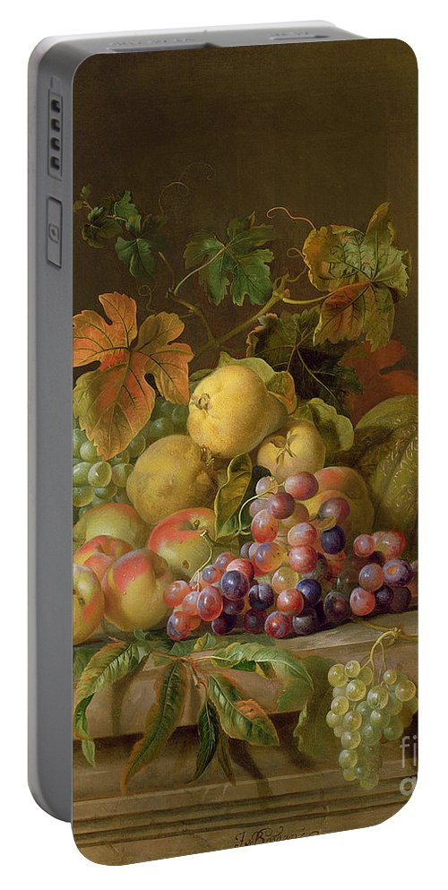 Still Portable Battery Charger featuring the painting A Still Life Of Melons Grapes And Peaches On A Ledge by Jakob Bogdani