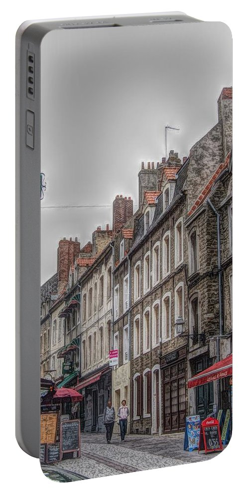 Street Portable Battery Charger featuring the digital art A Street In Boulogne by Roger Booton
