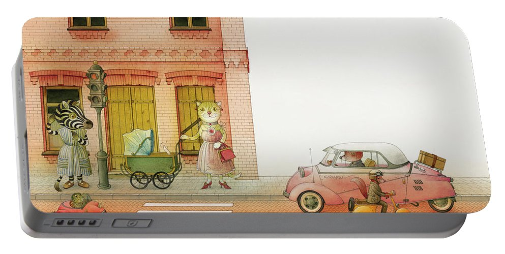 Striped Zebra Cat Cars Street Traffic Old Town Red Children Illustration Book Animals Portable Battery Charger featuring the drawing A Striped Story02 by Kestutis Kasparavicius