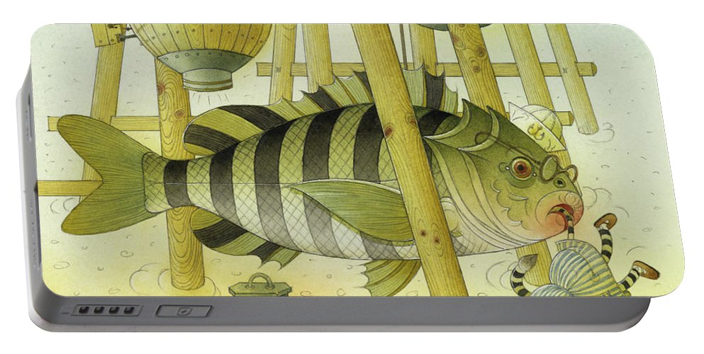 Striped Zebra Animals Fish Submarine Underwater Water Sea Sand Illustration Children Book Portable Battery Charger featuring the painting A Striped Story07 by Kestutis Kasparavicius
