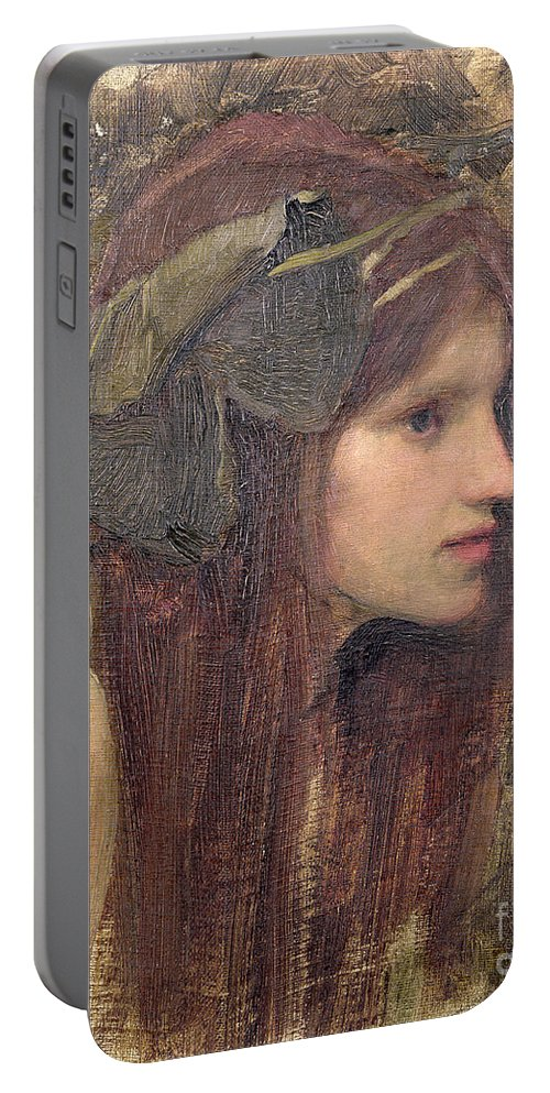 Naiad Portable Battery Charger featuring the painting A Study For A Naiad by John William Waterhouse