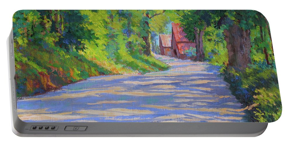 Landscape Portable Battery Charger featuring the painting A Summer Road by Keith Burgess