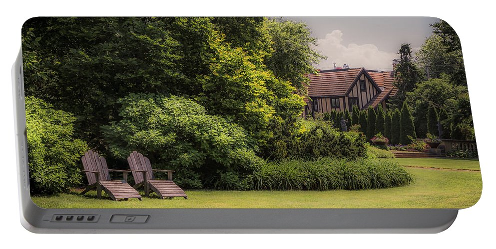 Trees Portable Battery Charger featuring the photograph A Summer Sitting Place by Marie LaConte