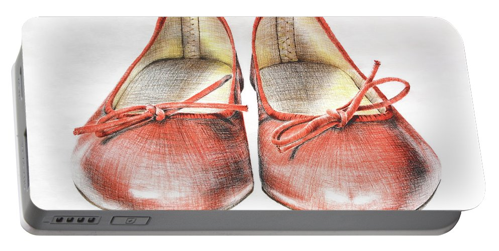 Shoes Portable Battery Charger featuring the drawing A Sunday Walk by Katharina Filus