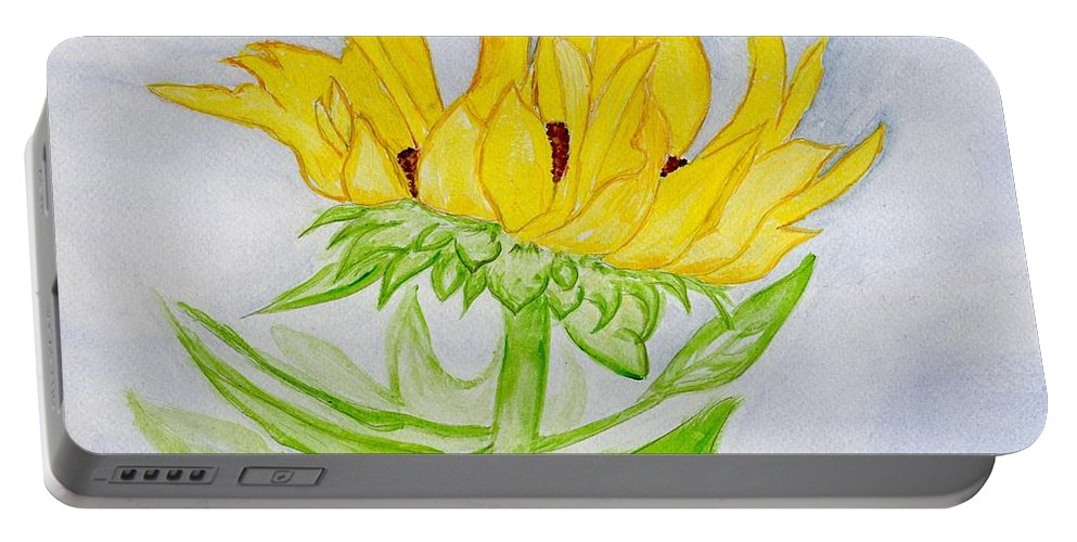 Sunflower Portable Battery Charger featuring the painting A Sunflower Blessing by Anne Gitto