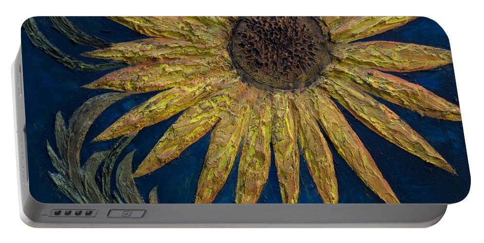 Sunflower Portable Battery Charger featuring the painting A Sunflower by Kelly Jade King