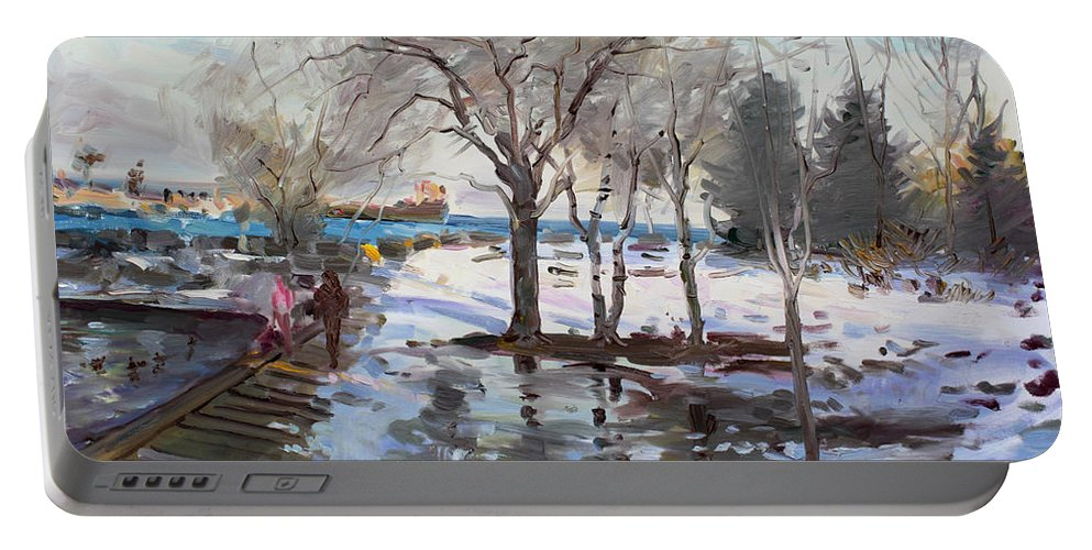 Landscape Portable Battery Charger featuring the painting A Sunny Freezing Day by Ylli Haruni