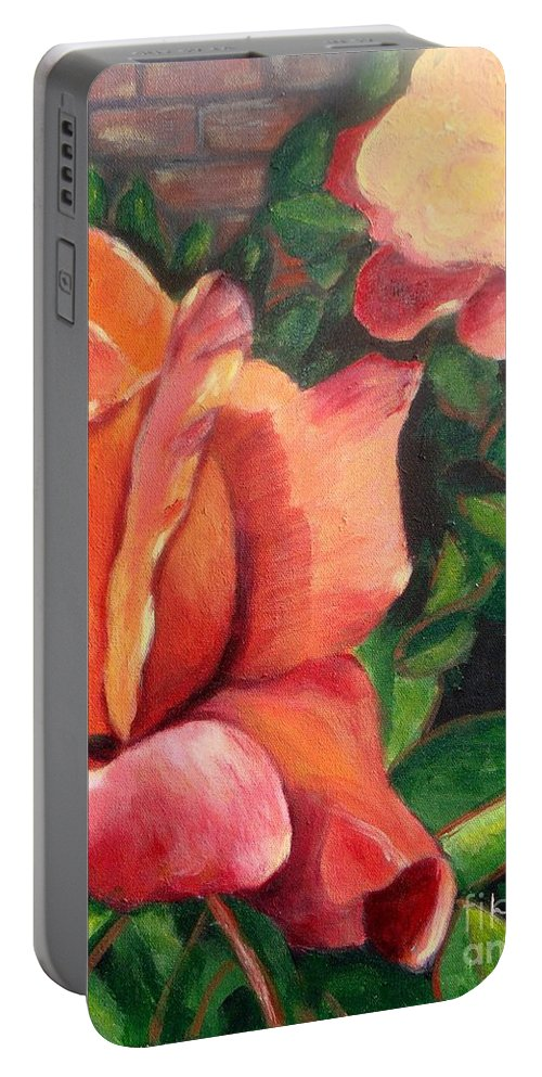Rose Portable Battery Charger featuring the painting A Tale Of Two Roses by Laurie Morgan