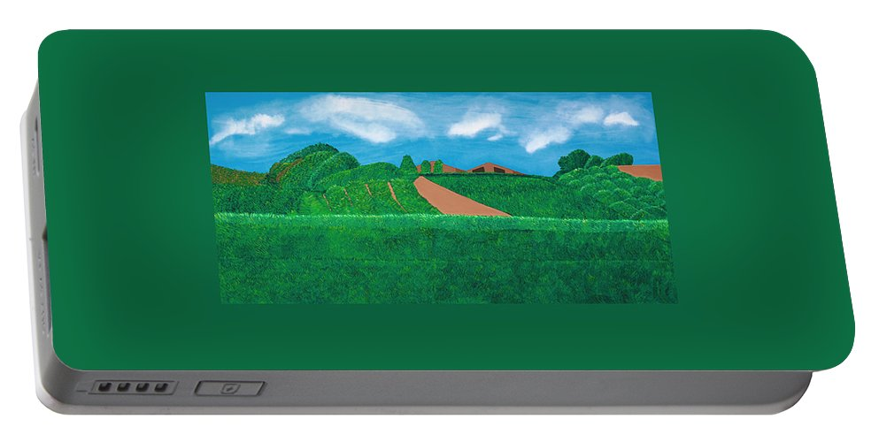 Landscape Portable Battery Charger featuring the painting A Taste Of Tuscany by Synthia SAINT JAMES