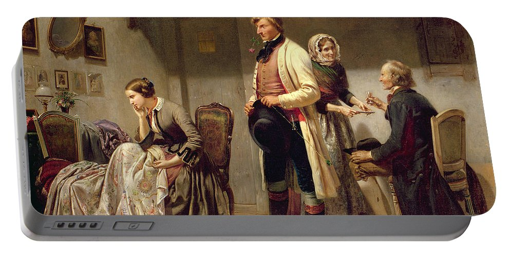 Toast Portable Battery Charger featuring the painting A Toast To The Engaged Couple by Carl Wilhelm Huebner