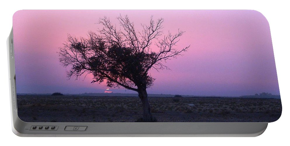 Lone Tree Sunset Purple Sky Desert Isolated Lonely Baron Land Portable Battery Charger featuring the photograph A Touch Of Alone by Andrea Lawrence