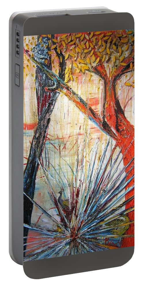 Trees Portable Battery Charger featuring the painting A Tribute by Peggy Blood