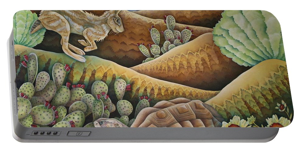 Aesop Portable Battery Charger featuring the painting A Tribute To Aesop by Jeniffer Stapher-Thomas