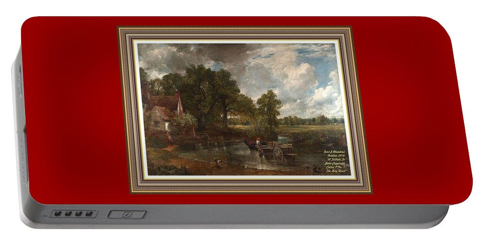 John Constable Portable Battery Charger featuring the painting A Tribute To John Constable Catus 1 No.1 - The Hay Wain L A With Alt. Decorative Ornate Printed Fr by Gert J Rheeders