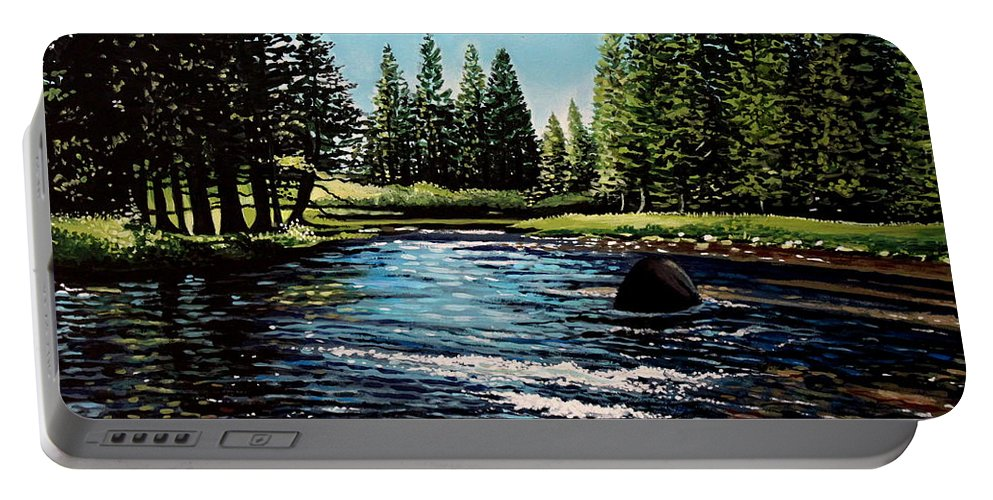 Landscape Portable Battery Charger featuring the painting A Trip To The Mountains by Elizabeth Robinette Tyndall