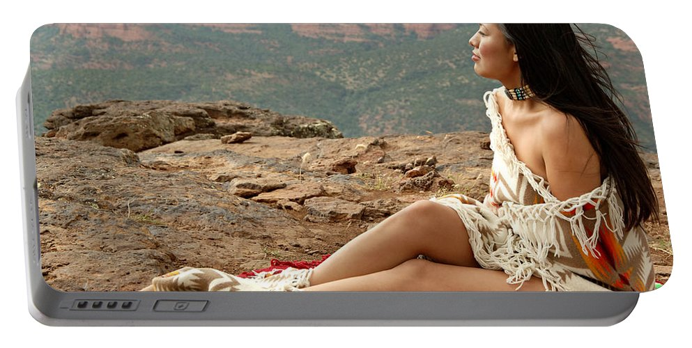 Native American Portable Battery Charger featuring the photograph A View by Scott Sawyer