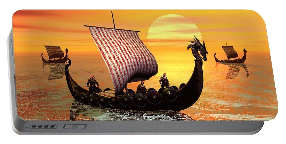 The Vikings Are Coming Portable Battery Charger featuring the digital art The Vikings Are Coming by John Junek